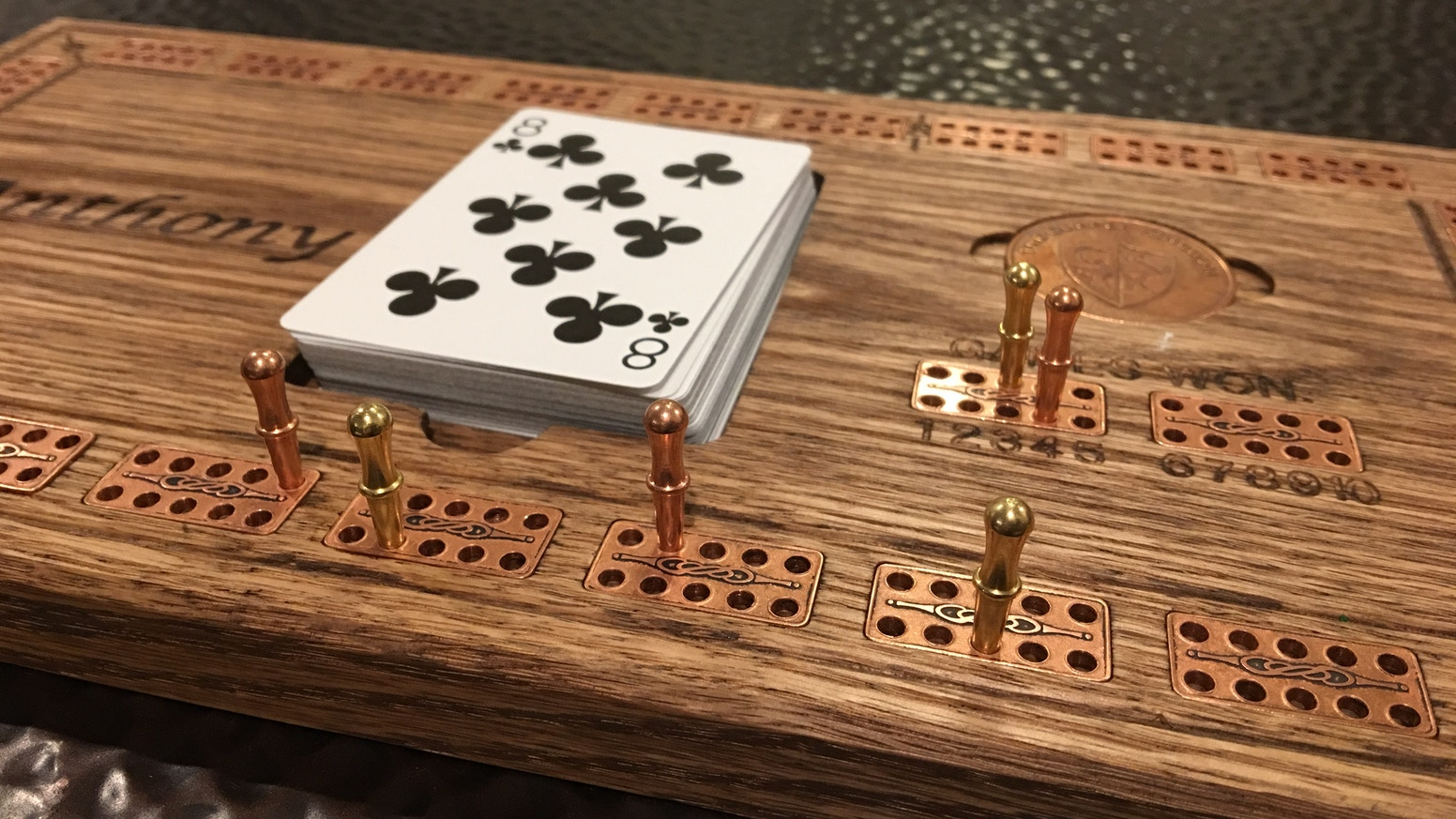 Premium Cribbage Board Game Solid Wood Amp Copper Inlay By