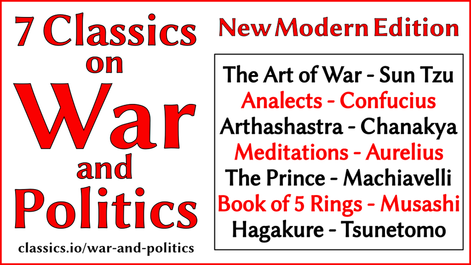 New modern edition of seven classics of politics and military strategy - We want to make classical works more accessible.