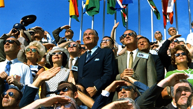 Spiro Agnew and Lyndon Johnson Watching the Launch