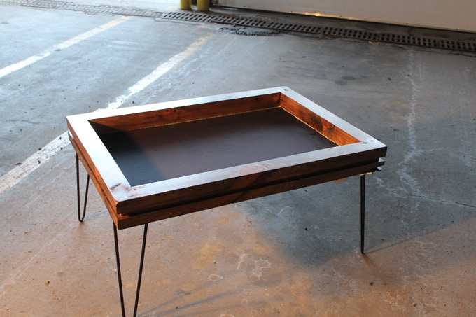 Coffee Table in Knotty Pine with Hairpin Legs