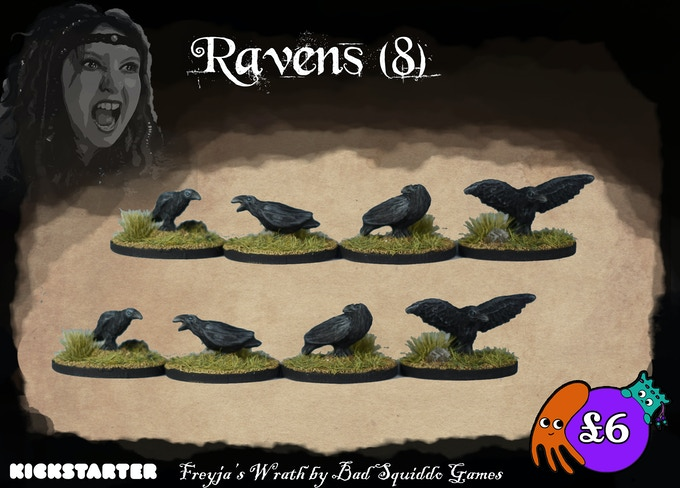Eight ravens (4 different sculpts) cast in pewter. These work great as swarms in many different games or even just dotted around the board or bases.