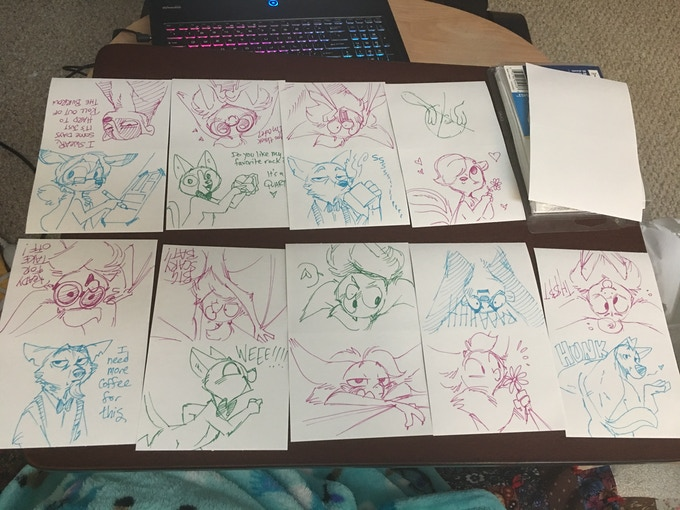 Some of the sketches from the Book 1 Kickstarter!
