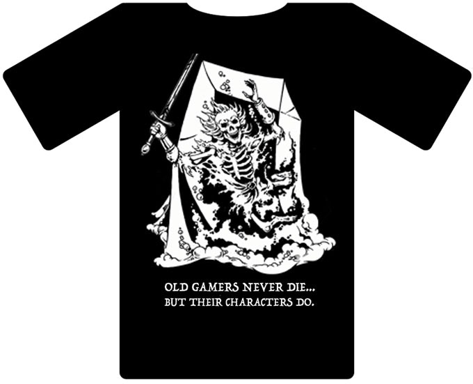 "Jeff Easley Shirt B - Gelatinous Cube ""Old Gamers Never Die..."""