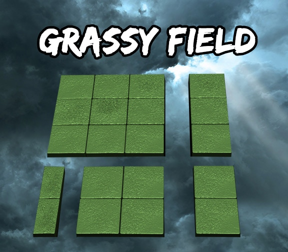 Grassy Field Square Tiles