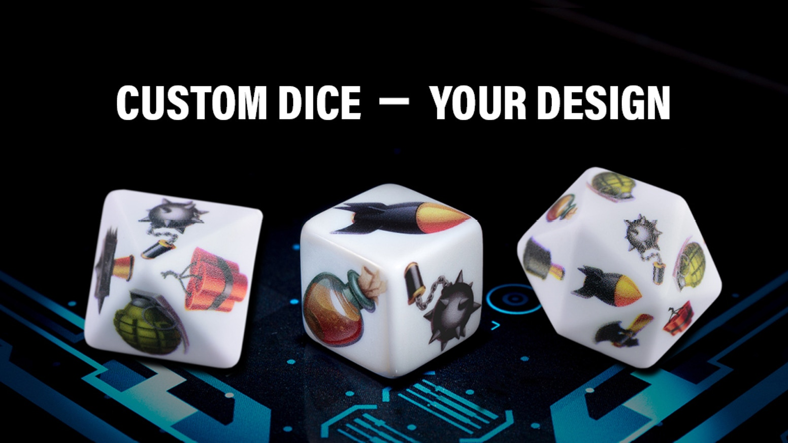 Full color, robust textured printed dice. Our new revolutionary print technology for small print runs.