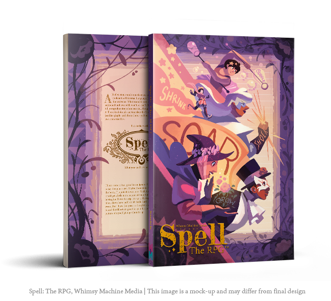 Spell: The RPG front and back cover mock-up, art by Nathalie Fourdraine