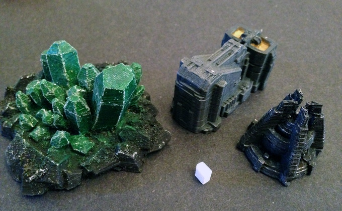Crystal field, mining refinery and power plant with a 6mm block for scale