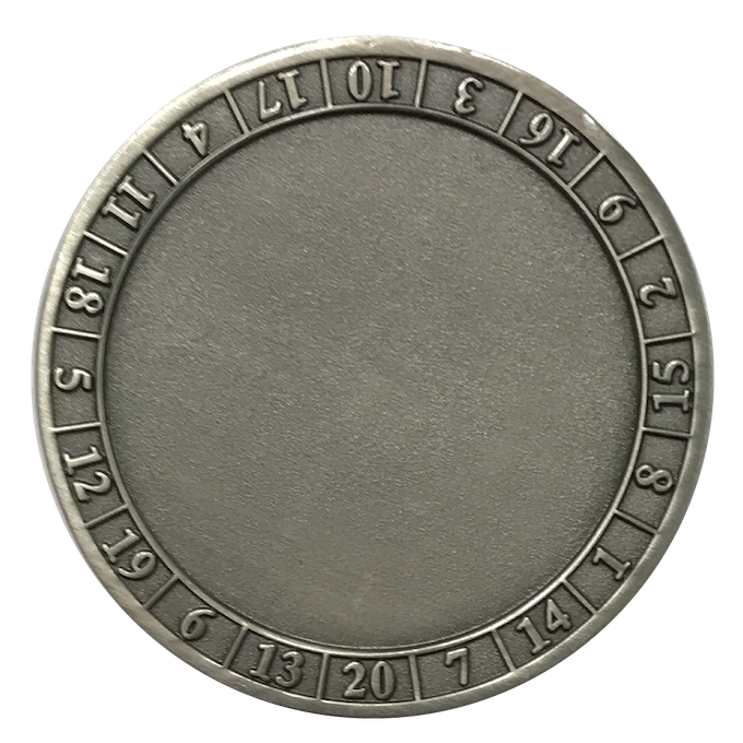 A Dice Coin d20 template.  This was created without any 3D characters.  Each coin will feature a different character in the center part of the coin.  See above characters.