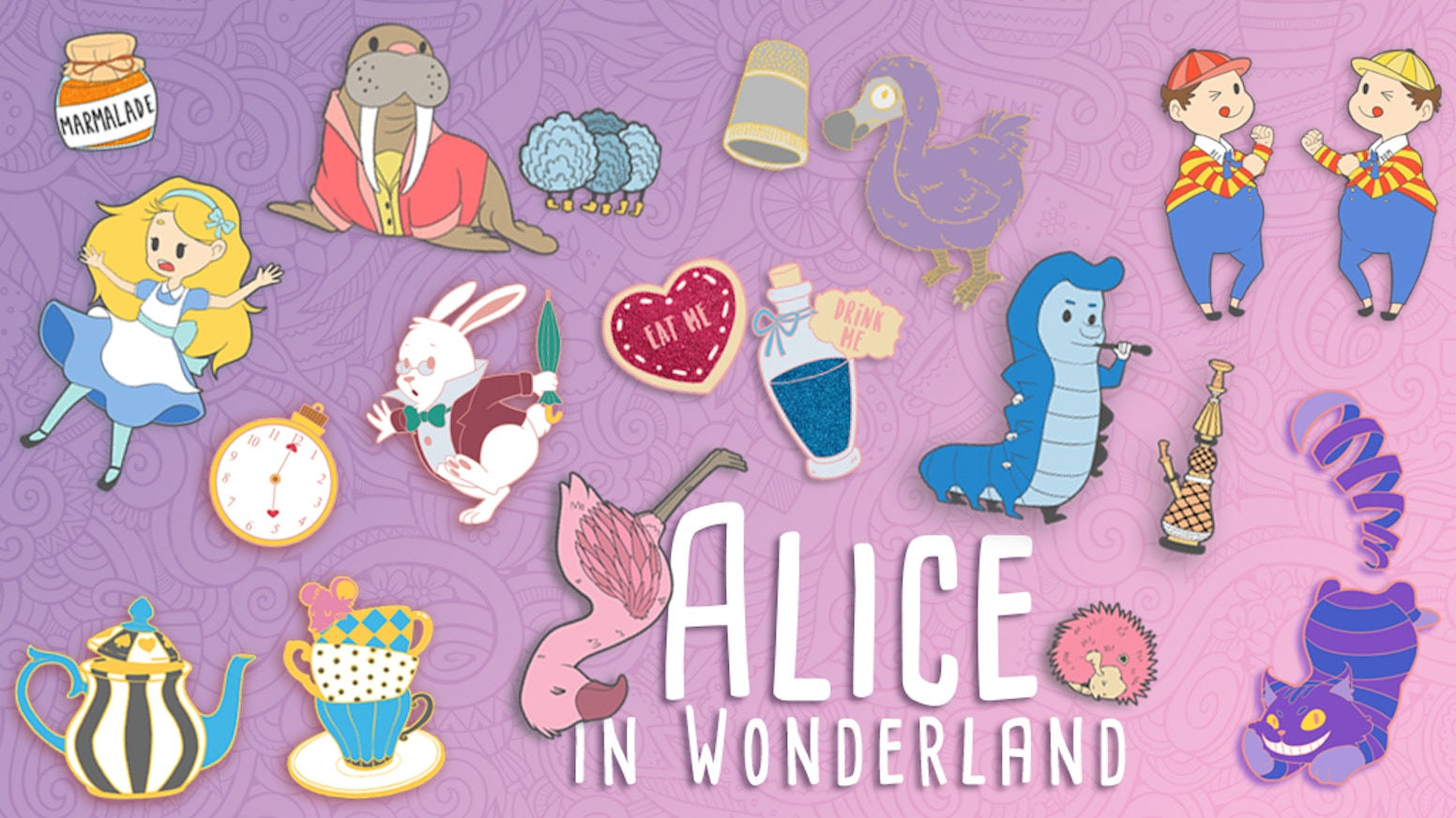 Bring the strange and eclectic characters of Lewis Carroll's Alice in Wonderland with you on your own wacky adventures!