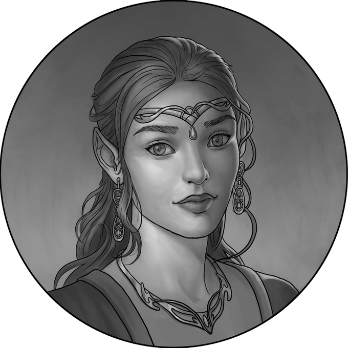 Female Elf.  This is a character that can be chosen for a d20 Dice Coin.  This artwork will be molded into a 3D image.