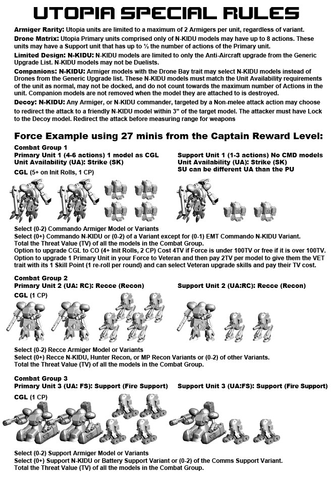 Utopia Force Special Rules Page 1.