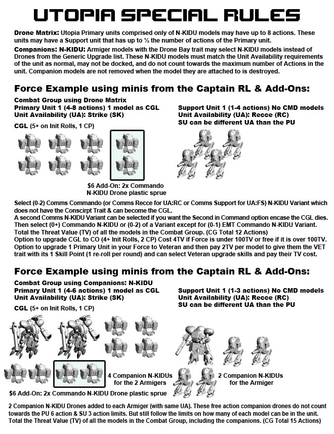 Utopia Force Special Rules Page 2.