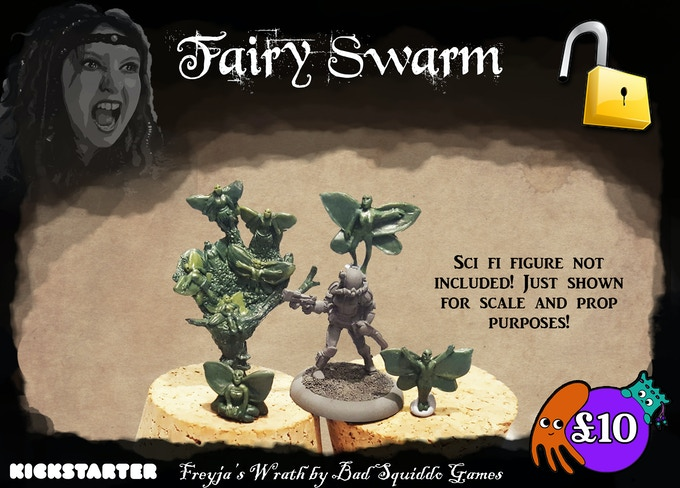 "Four different one piece pewter castings. One large ""swarm"" and three individual fairies."