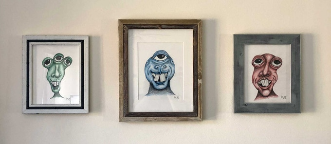 Framed Colored-pencil Monsters
