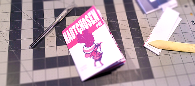 Mockup of the zine. I'm still working out some details for things like the final cover design (I need to finish designing the font), but this is pretty close.