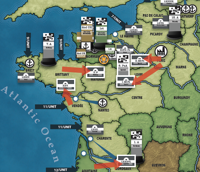 Army counters are deployed on the map, with off-board card stacks tracking the composition of each.