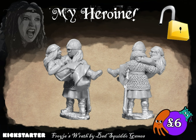 A one piece pewter casting depicting a shieldmaiden rescuing a villager, or perhaps carrying her over the threshold!