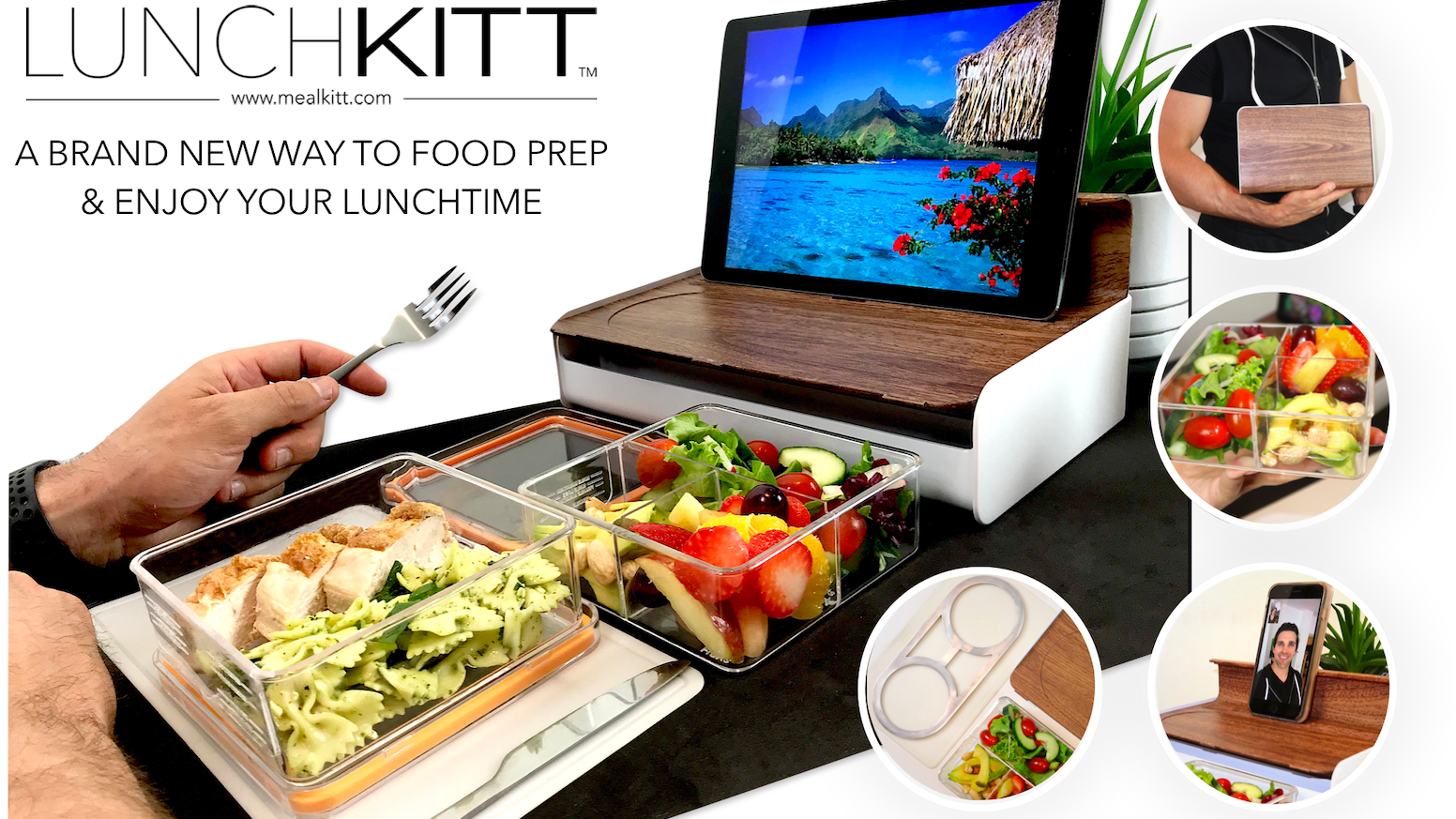 Portion guided bento containers in a unique lunchbox. With a mobile/tablet stand, cooler plate & eating mat.