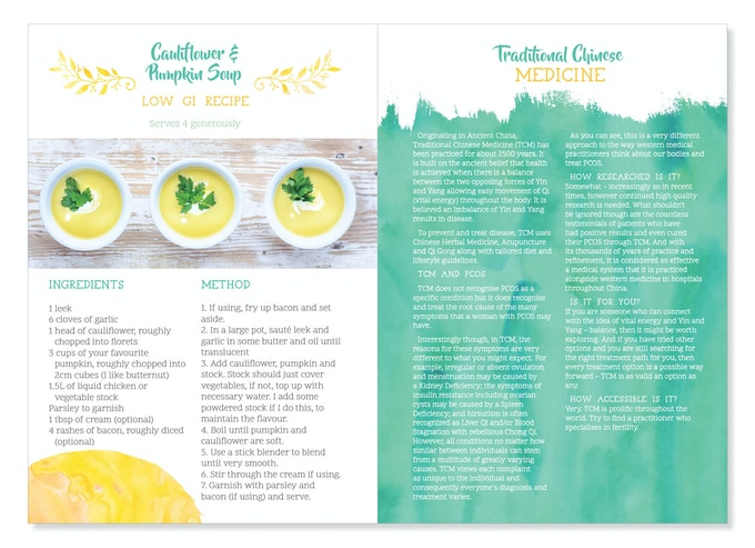 Recipes and treatment information - the recipes are Low GI. The treatment information pages explore various pathways for treating PCOS