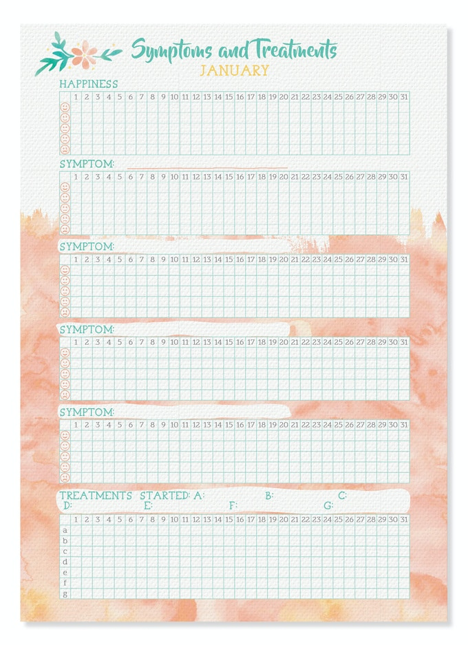 Symptoms and Treatments Tracking Chart