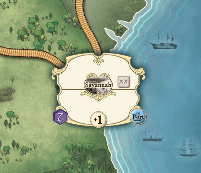 Movement is by railroad or sea (shown here by the 'Port' icon). The Union player gains Victory Points (shown in purple) - although they'll have to fight hard to take Savannah as the defender gains +1 Strength here.