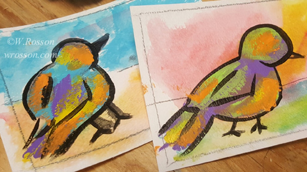 Make 100 Colorful Bird Paintings
