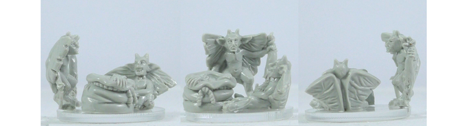Plain resin miniatures (production will be metal), approx 19mm high. Sculpted by Deeper Reaches Miniatures