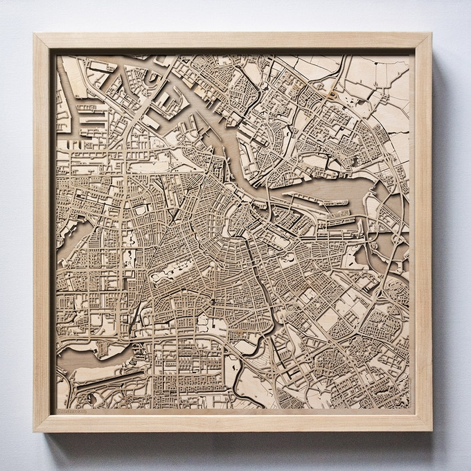 Amsterdam CityWood Laser Cut Wooden Map