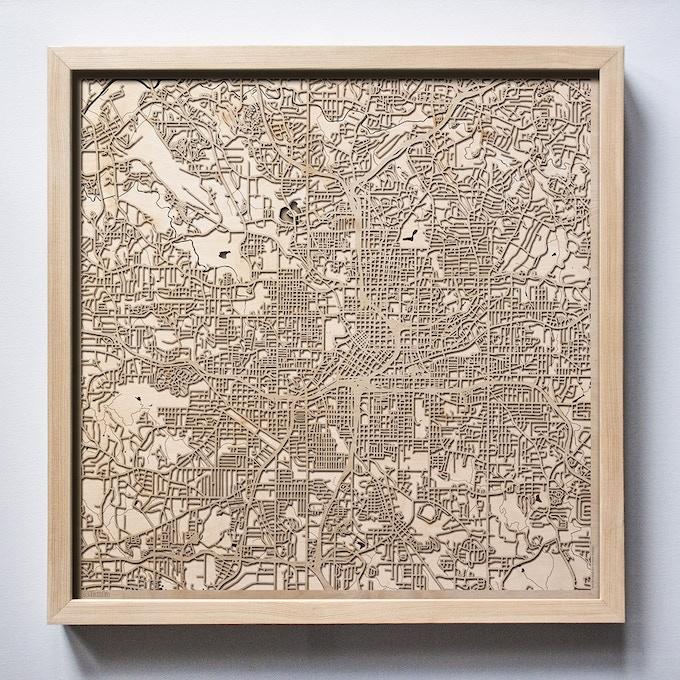 Atlanta  CityWood Laser Cut Wooden Map