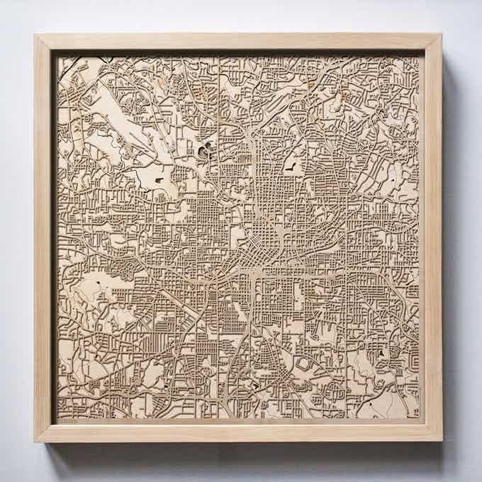 Atlanta  CityWood Laser Cut Wooden Map