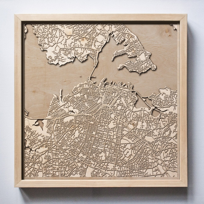 Auckland CityWood Laser Cut Wooden Map