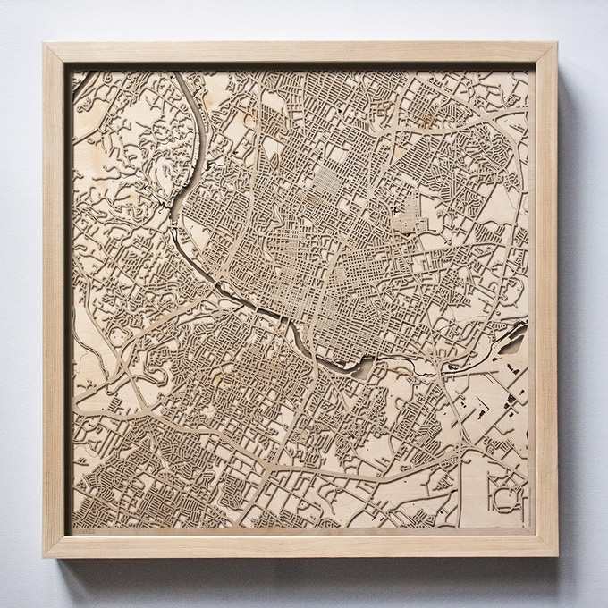 Austin CityWood Laser Cut Wooden Map