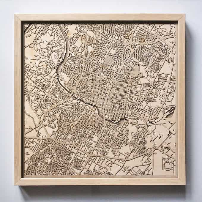 Austin CityWood Laser Cut Wooden Map