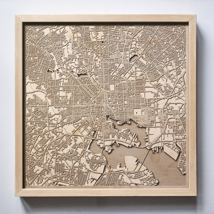 Baltimore CityWood Laser Cut Wooden Map
