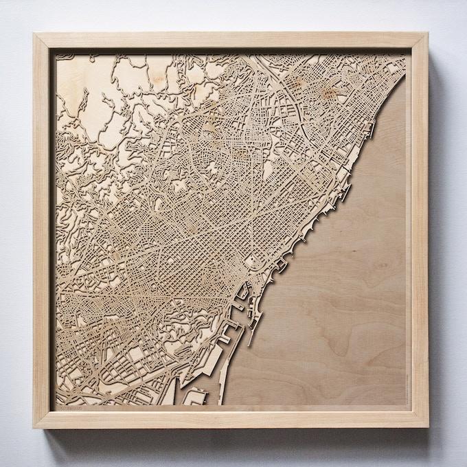 Barcelona CityWood Laser Cut Wooden Map