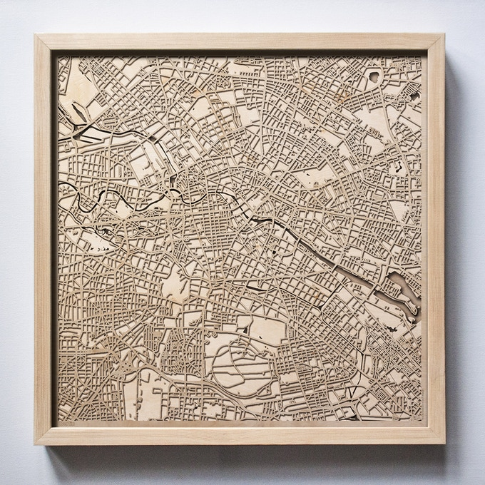 Berlin CityWood Laser Cut Wooden Map