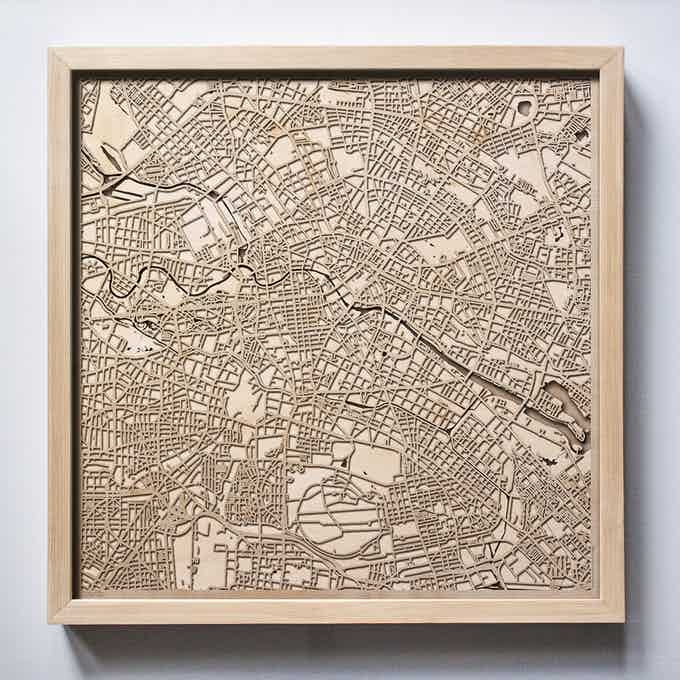 Berlin CityWood Laser Cut Wooden Map