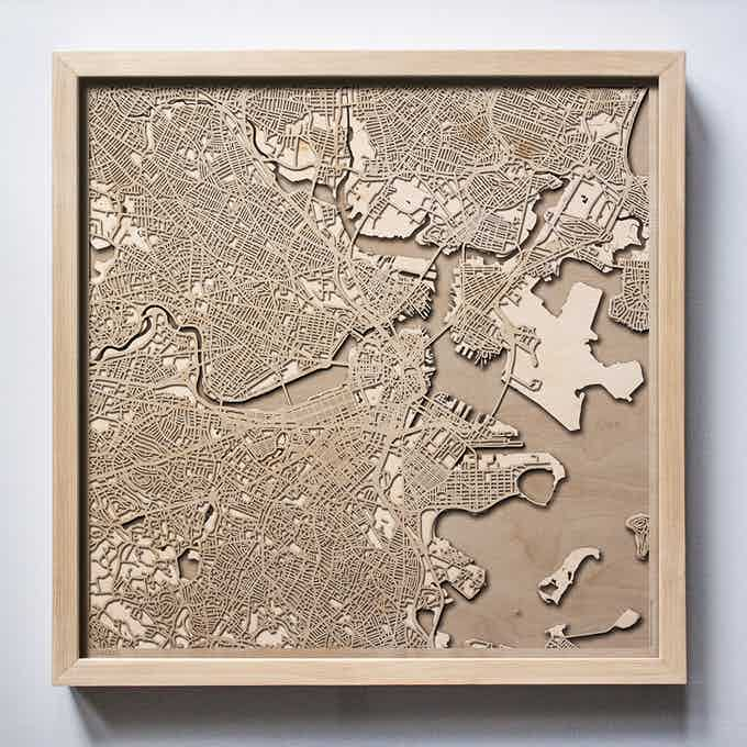 Boston CityWood Laser Cut Wooden Map