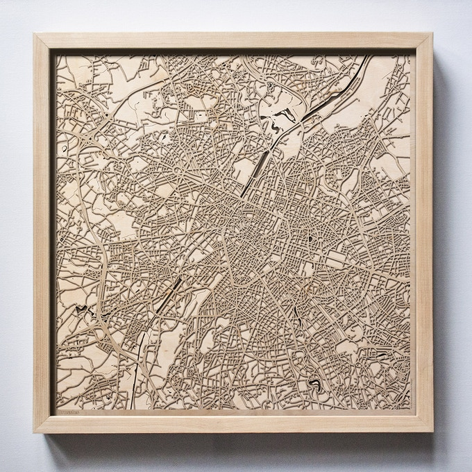 Brussels CityWood Laser Cut Wooden Map