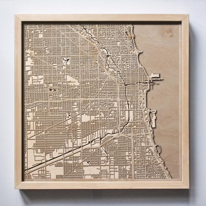 Chicago CityWood Laser Cut Wooden Map