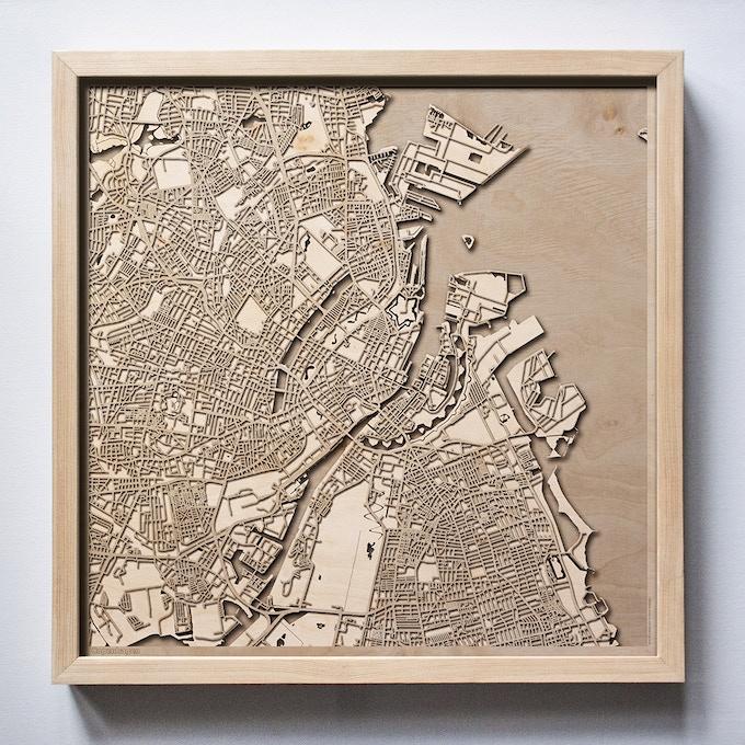 Copenhagen CityWood Laser Cut Wooden Map