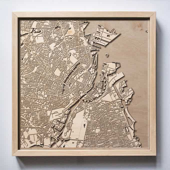 Copenhagen CityWood Laser Cut Wooden Map