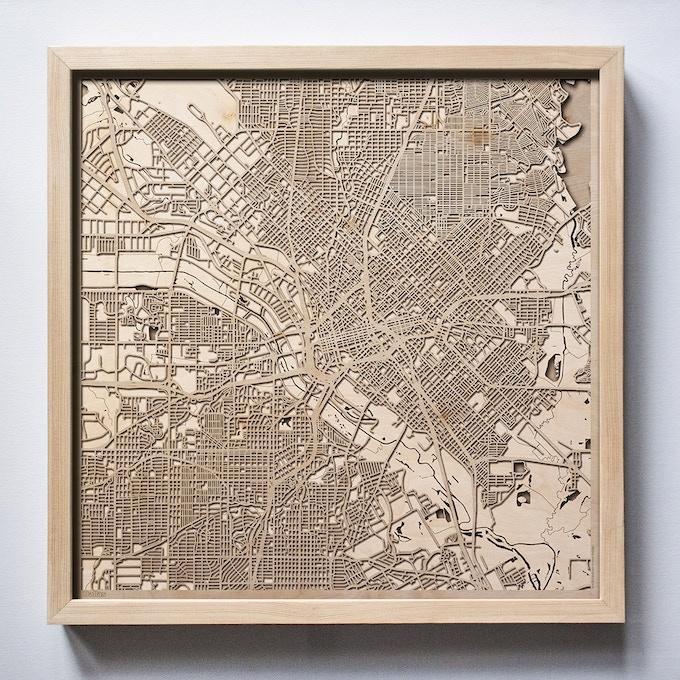 Dallas CityWood Laser Cut Wooden Map