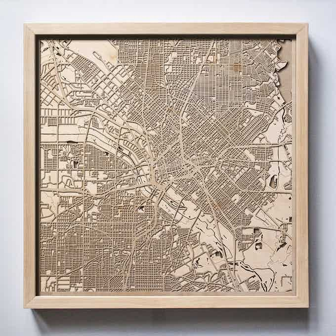 Dallas CityWood Laser Cut Wooden Map