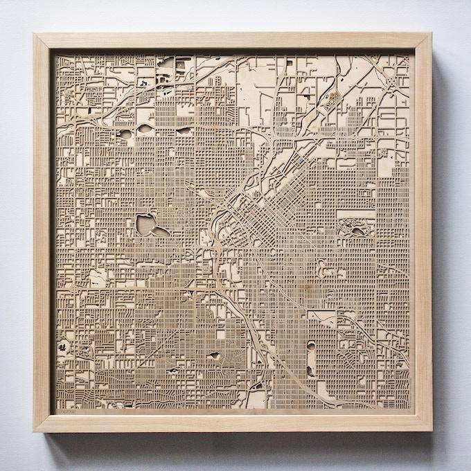 Denver CityWood Laser Cut Wooden Map