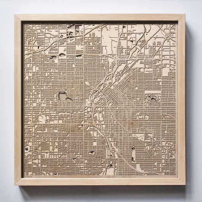 Denver CityWood Laser Cut Wooden Map