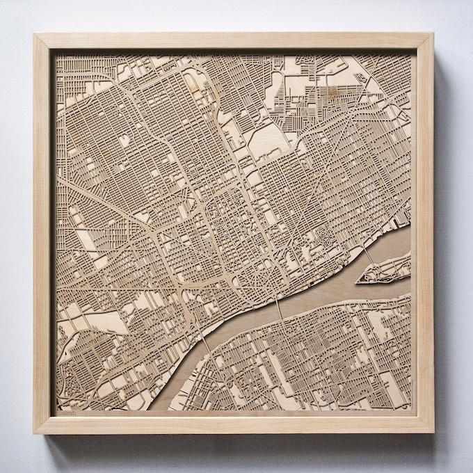Detroit CityWood Laser Cut Wooden Map