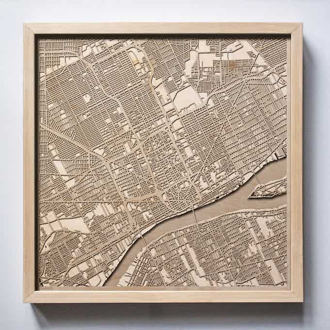 Detroit CityWood Laser Cut Wooden Map