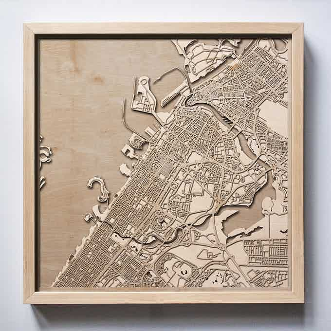 Dubai CityWood Laser Cut Wooden Map