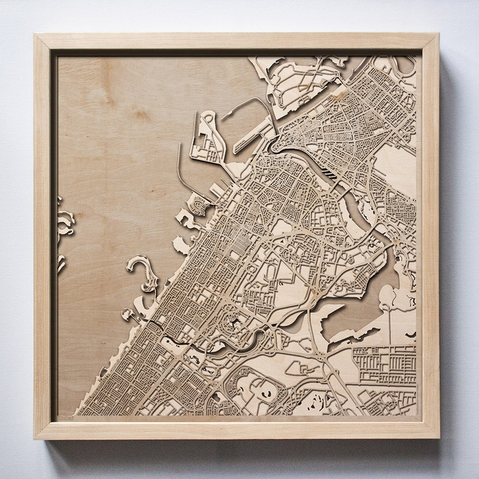 Dubai CityWood Laser Cut Wooden Map
